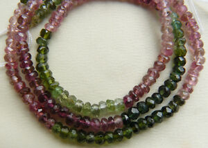 Natural Tourmaline Faceted 3mm multi-color beads Natural premium AAA faceted