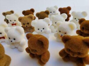"NOS Mini Flocked Fuzzy 1"" Toy Teddy Bears Christmas Craft Supply Miniature 24"