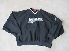 NIKE Florida Marlins Pull Over Jacket Adult Extra Large Black Baseball Mens *