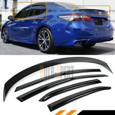 FOR 2018-19 TOYOTA CAMRY GLOSSY BLACK TRUNK LID SPOILER+ WINDOW VISOR RAIN GUARD