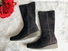 C La Canadienne Womens Platform Wedge Heel Suede Mid Calf Boots Brown Size 9