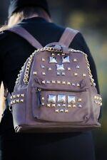 Designer Beuteltasche Nieten Rucksack Fashion Rock Punk Grau Metall Backpack