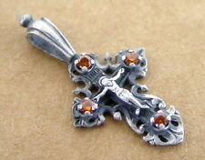 Russian Cross Silver Sterling, Jesus Christ, 4 Yellow Stones, Great Old Small