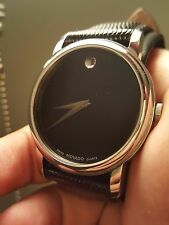 Movado Museum Black Dial Black Leather Strap Mens Watch 2100002 Authentic!!!
