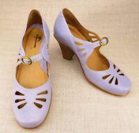 Dromedaris Lavender Mary Jane Buckle Heels Cut Out Leather Shoes 36 Women's US 6