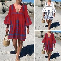 ZANZEA Womens Summer Floral V Neck Beach Dress Ladies Flare Sleeve Mini Dresses