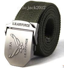 Fashion men boy cool sports canvas belts US air force army green 110CM-D215