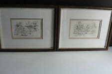 Old Vintage (2) lovely  drawings pencil prints by Jas F. Murray -Reproduction!