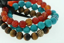 10mm Genuine Agate, Turquoise, & Tigers Eye Polished Bead 3 Bracelet Set