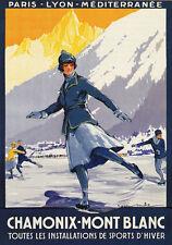 "Ts97 Vintage Chamonix Mont Blanc Deportes De Invierno Cartel viaje A3 17 ""x12"""