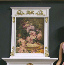 """FIREPLACE OVERMANTLE  ~ for  TYLER ~ White/Gold Detail ~ 1:4 scale ~ 16"""" Doll"""