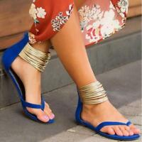 Hot Women's Casual Thong Sandals Ankle Strap Flip Flops Flats Summer Beach Shoes