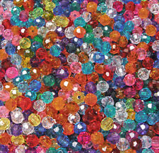 Multi Transparent Colors 8mm Faceted Round Craft Beads made in USA 500pc