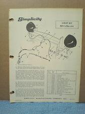 Simplicity Mfg No. 454 Light Kit Installation And Parts Manual Original!