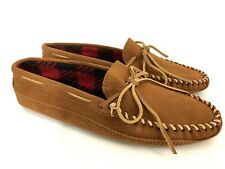 Minnetonka Men's Size10 Brown Suede Double Bottom Leather Fleece Slippers 773