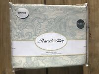 Peacock Alley Queen Coverlet 3 Pc Set Garment Washed Jacquard Blanket Blue New