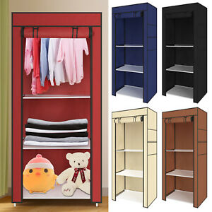 Bedroom Single Canvas Clothe Wardrobe Storage Cupboard Shelves Durable Furniture