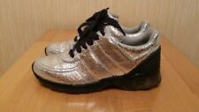 CHANEL CC LOGO CRACKED LEATHER SILVER METALLIC SNEAKERS TRAINERS Size 36.5