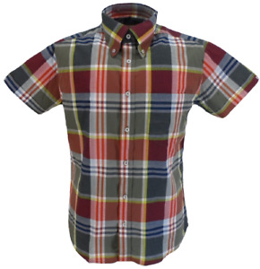 Real Hoxton Mens Multicoloured Checked Short Sleeved  Button Down shirts …