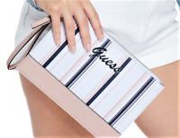 NWT GUESS MATTY WRISTLET BAG Blush Stripe Multi Logo Clutch Pouch Wallet GENUINE