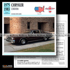 #107.19 CHRYSLER CORDOBA V8 (1975-1983) - Fiche Auto Car card