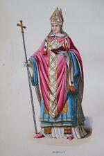 GRAVURE-ARCHEVEQUE FOSCARI ROME-COSTUMES MOYEN AGE 1847-ANTIQUE  PRINT