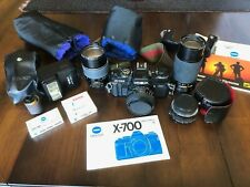 Minolta X-700 35mm SLR vintage film camera with lenses and accessories, Works