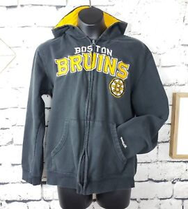 Reebok Faceoff NHL Boys Boston Bruins Hockey Zip Up Hoodie Black Gold LG 14/16