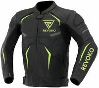 New Mens genuine Cowhide Leather Street Racing Motorcycle Motorbike Jacket