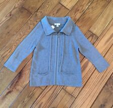NWT Christopher & Banks Cotton Gray Zip Up Sweater Small