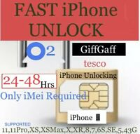 O2'GIFFGAFF'tesco uk✅FAST iPhone UNLOCK✅iPhone11,11Pro,XS,X,XR-to-3G✅3-48 Hrs✅✅✅
