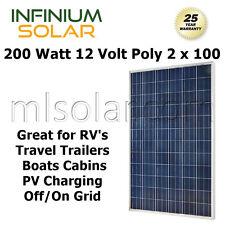 200Watt 12V  2 x 100W POLY SOLAR PANEL PV CHARGING RV BOATS OFF GRID CAMPING