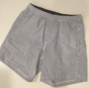 "Birddogs Men's Seersucker Shorts 7"" XL Extra-Large White Blue Stripes Classic"