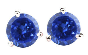 AA Natural Blue Tanzania Tanzanite 3.00Ct Round Cut Solitaire Studs In 14KT Gold