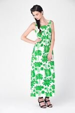True Vintage 60s Mardi Gras green and white floral evening dress -  Size  6