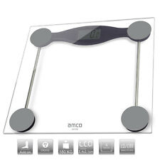 amco Ultra Slim Electronic Bathroom Scales,Kg/Lb/St, Clear Glass