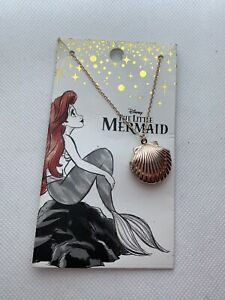 NIP Disney Ariel Necklace Seashell Locket With Pearl Little Mermaid Gold Tone