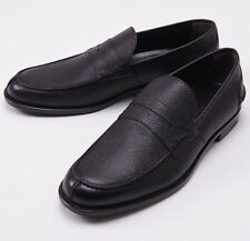 NIB $695 ERMENEGILDO ZEGNA Dark Brown Pebble Grain Leather Loafer US 11.5 Shoes