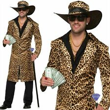 Mens 70's 80's Funky Leopard Print Pimp Daddy Gangster Costume Fancy Dress