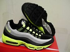 NIKE Air Max 95 No Sew Black Volt Neon Green Charcoal grey Running Shoes Size 9