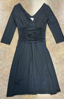 Suzi Chin women's black stretch ruched 3/4 sleeve below knee v neck dress size 8