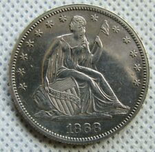 1868-P Seated Liberty Half Dollar AU-Uncirculated Old Cleaning