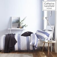 Catherine Lansfield Newquay Stripe Easy Care Duvet Cover Bedding Set Blue