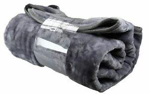 Extra Large Mink Faux Fur Throw 200cm x 240cm - DARK SILVER GREY