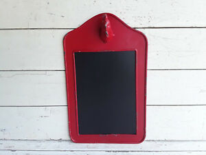 Rooster Head Chalkboard Message Country Farm Decor Wall Hanging Red Metal