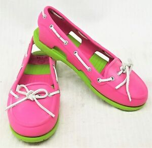 Crocs Size 8 Womens Pink/Green Beach Line Boat Shoes