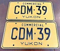 RARE COMMERCIAL YUKON LICENSE PLATES PAIR #CDM39