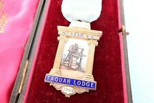 FINE Antique silver & enamel Masonic Jewel medal 1909 TAQUAH LODGE