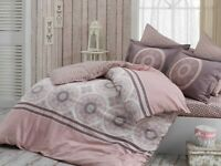 100%  Organic Cotton Sateen Quilt / Doona Cover Set Dusky Pink Queen Size 880TC