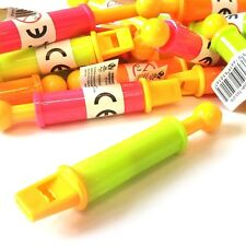 12 x MINI PULL WHISTLE NOISE FLUTE TOY LOOT GIRLS BOYS BIRTHDAY PARTY BAG FILLER